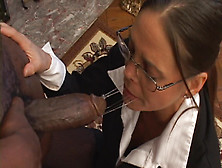 Charming Chick In Glasses Tasting A Yummy Black Rod