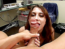 Brunette Sucking A Big Cock And Licking Feet Before Swallowing C