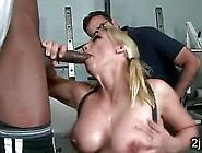 Big Boobed Blonde Milf Sucks Off Black Personal Trainer
