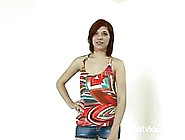 Red Haired Girl Is Slowly Getting Naked In Front Of The Camera,