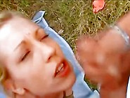 Cute Blonde Girl Gets Pissed On And Pisses On A Guy Outdoors