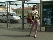 Naughty In Public Brunette Flashing At The Crowde Bus Stop.