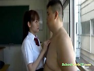 Schoolgirl Kissing Fat Man Body Licking His Asshole In The Class