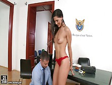 Elegant Brunette Babe Alexa Tomas Seduces Her Boss And Gives Him