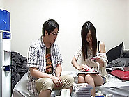 In Her Dorm A Nerdy,  But Hot Japanese Coed Fucks An Older Guy