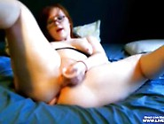 Sexy Booty Redhead Ashling With Glasses Rides Her Big Dildo