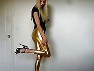 Blond Bitch In Spandex Shiny Tight Leggins