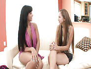 Slim Lesbian Babes Eating Wet Dripping Twats On The Sofa