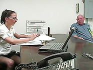 Rod Fontana Makes Veronica Jett Give Him A Footjob In An Office
