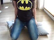 Girl Fart In Chair With Jeans And Batman Logo