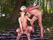 Slutty Teen Chick Gets Threesomed By Old Men Outdoors