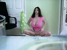 Brunette Babe Having A Sheet That Is Large Striptease