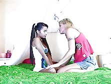 Asian Little Lupe And Blonde Milf Pussy Licking