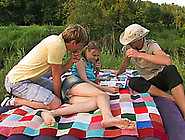 Slutty Russian Amateur Teen On The Picnic With Two Boys