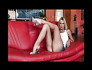 Mega Hot Blonde Fucked On Red Couch