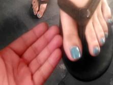 Pretty Asian Feet In Black Flip Flops
