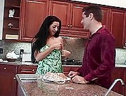 Carmen The Slutty Brunette Gets Fucked And Facialed In The Kitch