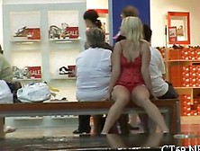 Blonde Slut Cant Help But To Flash In Public