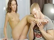 Teen Coed Having Huge Cock In Her Petite Asshole