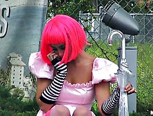 Cosplay Cutie With Pink Hair Sucks A Big Dick In The Front Seat