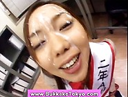 Asian Bukkake Cutie Takes Cum Bath