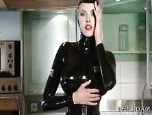 Tall Slender Chick Posing In A Black Latex Uniform