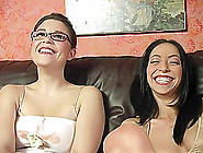 Two Gorgeous Brunettes Share A Bbc After Sucking It Devotedly