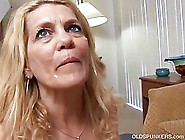 Blonde Milf Is Smiling While Sucking Her Husband'S Big Fat Dick