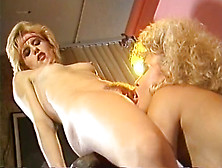 Hot Blondes Put On A Good Lesbian Show For Their Horny Friend
