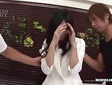 Asian Beauty Is Enjoying While Making Love With Two Guys Who Are