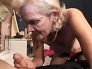Wild Blonde Granny In Stockings Has Fun With A Dildo And A Hard