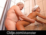 Black Teen Babe Masturbates In The Shower Than Fucks Grandpa