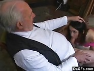 Lecherous Old Man Takes Out His Wrinkled Cock For The Young Woma