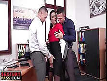 Hot Secretary Is Having Steamy Sex With Two Men At The Same Time