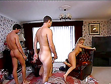 Two Salacious Chicks Give Handjobs And Get Fucked In A Foursome