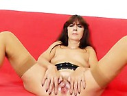 Lada Gapes Her Hairy Cooter In Stunning Pantyhose And Heels