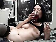 Kinky Brunette Mom In Black Lingerie Drills Her Holes On The Web