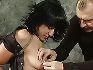 Brunette Hottie Gets Pulled By Her Pierced Nipples In Bdsm Video