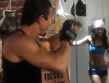 Asian Kaylani Lei Warms Up For A Fight With Two Big Cocks