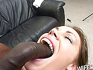 A Slutty,  Black Cock Addicted White Girl Gags On Some Ebony Dick