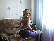 Blonde Amateur Girl In Tight Pants Strips And Masturbates