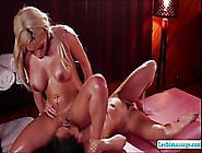 Busty Blonde Masseuse Knows What Girls Want From Her And Likes G