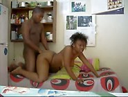 Young Black Couple Making Private Video
