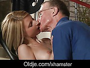 Old John Nails Candy's Tiny Pussy With His Big Cock
