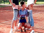 Tennis Players Blown By Babe In Satin Blouse