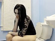 Lady Pooping And Farting On Toilet