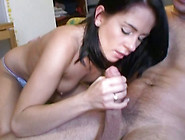 Cute Young Brunette Gives Great Blowjob And Gets Her Pussy Fucke