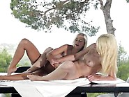 Two Naked Babes Are Playing Dirty Game Under The Open Air