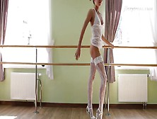 White Lingerie On The Gorgeous Teen Ballerina