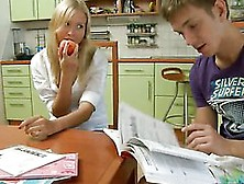 Teen Cutie Do Her Homework With Her Classmate.